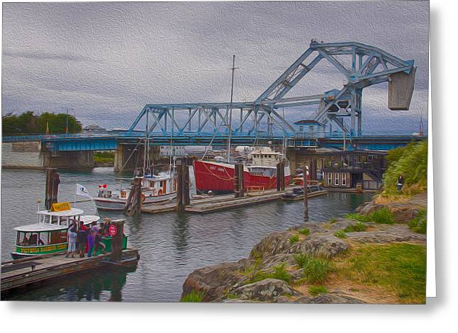 Cole Greeting Cards - Blue Bridge Greeting Card by Carrie Cole