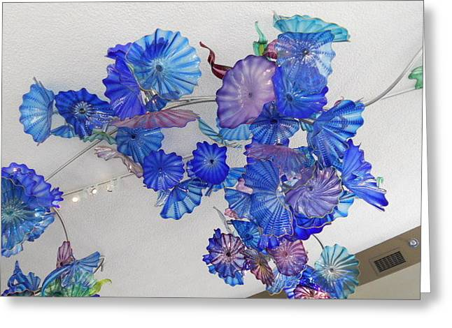 Rapids Glass Greeting Cards - Blue Chihuly Glass Greeting Card by Dotti Hannum