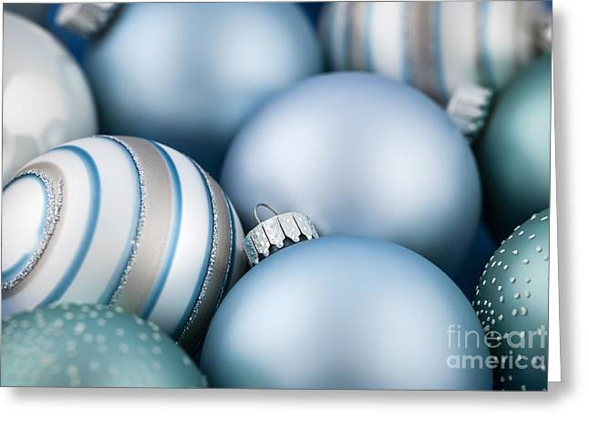 Decorate Greeting Cards - Blue Christmas ornaments Greeting Card by Elena Elisseeva