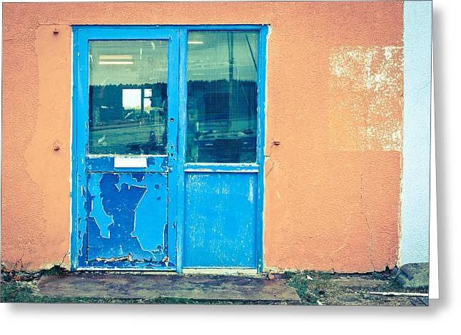 Glass Wall Greeting Cards - Blue door Greeting Card by Tom Gowanlock