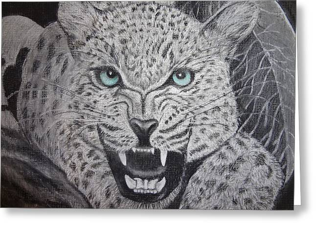 Wild Life Drawings Greeting Cards - Blue Eyed Liger Greeting Card by Trishia Peterson