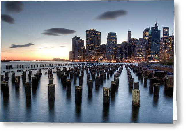 Brooklyn Bridge Park Greeting Cards - Blue Greeting Card by Johnny Lam
