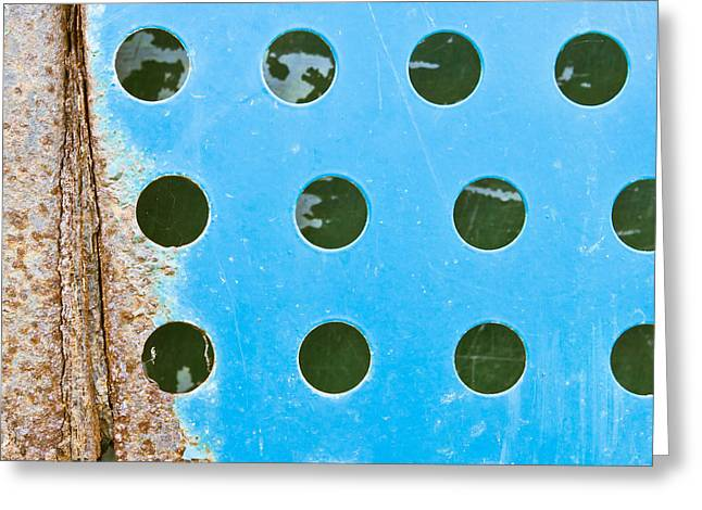 Grate Greeting Cards - Blue metal Greeting Card by Tom Gowanlock