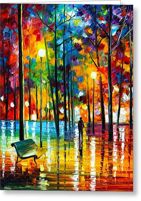 Owner Greeting Cards - Blue Reflections Greeting Card by Leonid Afremov