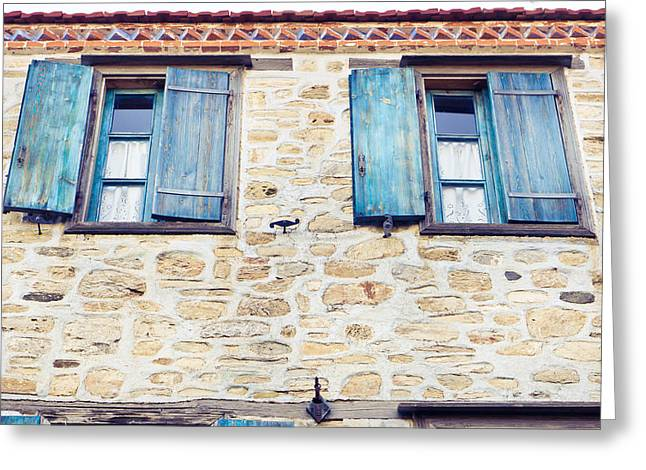 Antique City Greeting Cards - Blue shutters Greeting Card by Tom Gowanlock