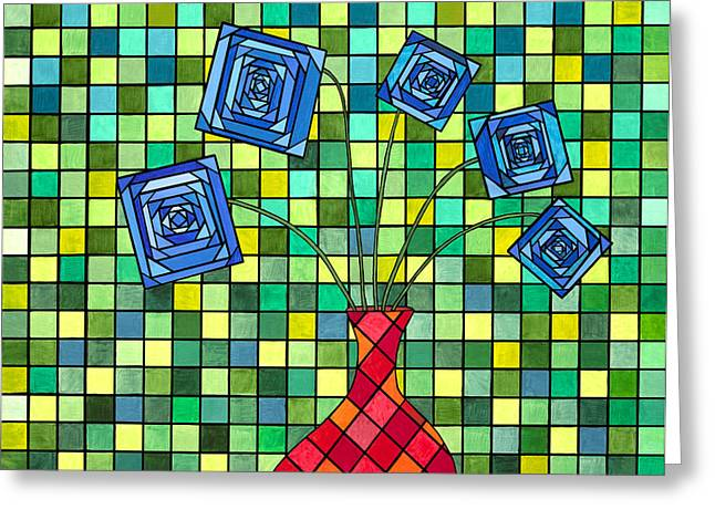 Picasso Greeting Cards - Blue Square Flowers Greeting Card by Christopher Page