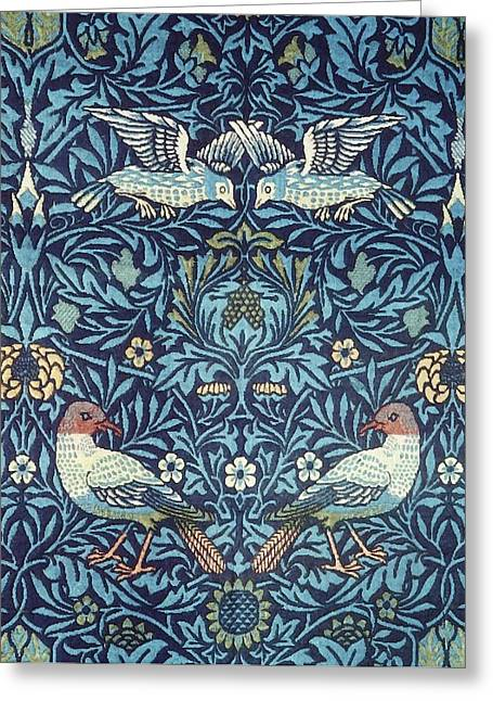 Mille Fleurs Greeting Cards - Blue Tapestry Greeting Card by William Morris