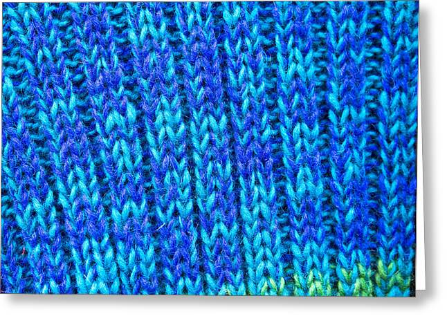 Warm Colours Abstract Greeting Cards - Blue wool Greeting Card by Tom Gowanlock