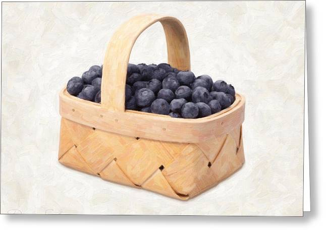 Single Object Paintings Greeting Cards - Blueberry Basket Greeting Card by Danny Smythe