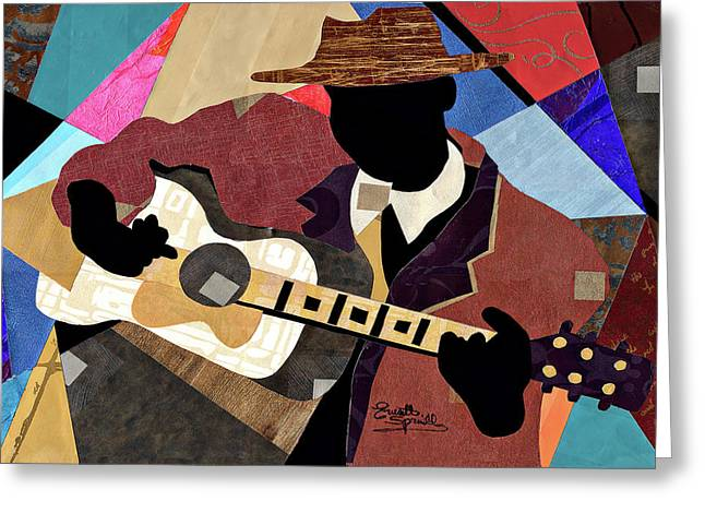 Romare Bearden Mixed Media Greeting Cards - Blues Boy Greeting Card by Everett Spruill