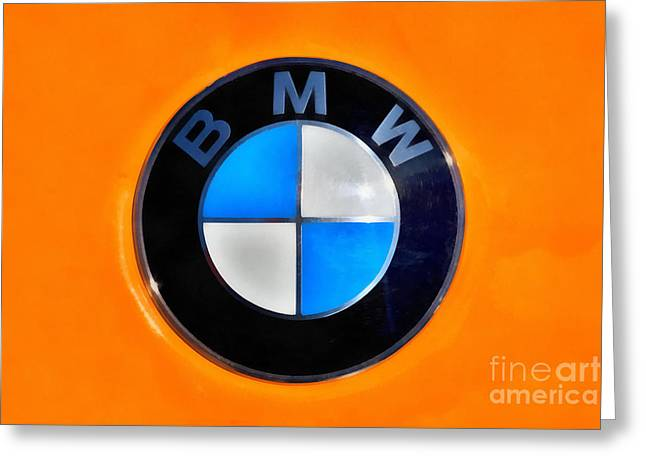 Car Mascot Paintings Greeting Cards - BMW badge Greeting Card by George Atsametakis