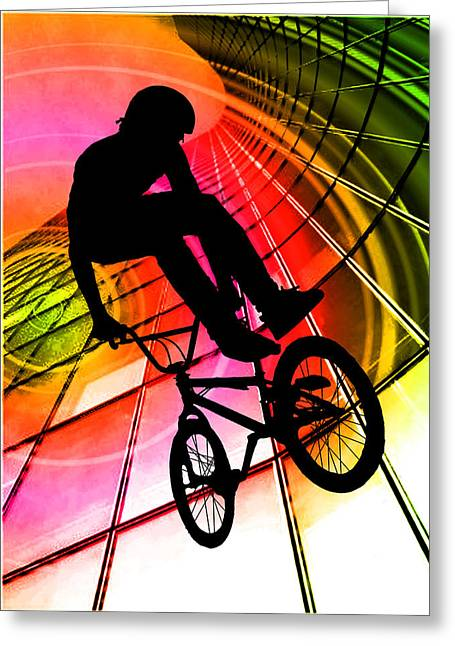 Teenager Tween Silhouette Athlete Hobbies Sports Greeting Cards - BMX in Lines and Circles Greeting Card by Elaine Plesser