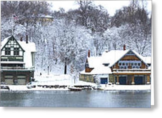 Schuylkill River Greeting Cards - Boathouse Row At The Waterfront Greeting Card by Panoramic Images