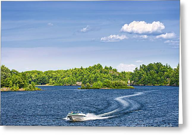 Georgian Bay Greeting Cards - Boating on lake Greeting Card by Elena Elisseeva