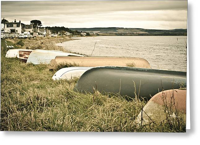 Overturn Greeting Cards - Boats at Findhorn Greeting Card by Tom Gowanlock