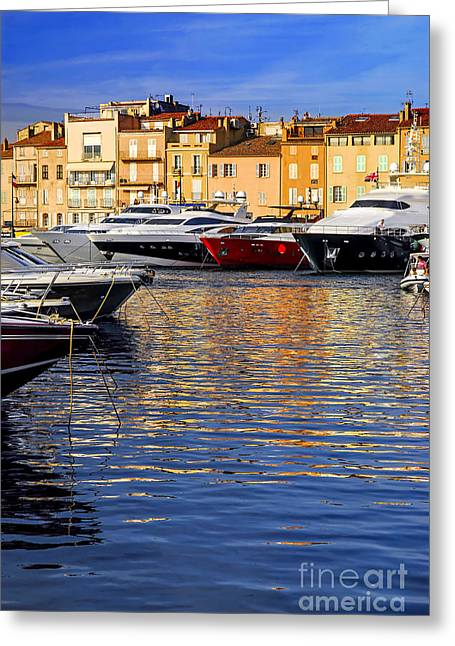Docked Sailboat Greeting Cards - Boats at St.Tropez Greeting Card by Elena Elisseeva