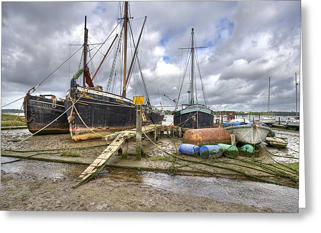 Working Boats Greeting Cards - Boats on the hard at Pin Mill Greeting Card by Gary Eason