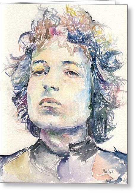 Original Robert Plant Paintings Greeting Cards - Bob Dylan Greeting Card by Marina Sotiriou