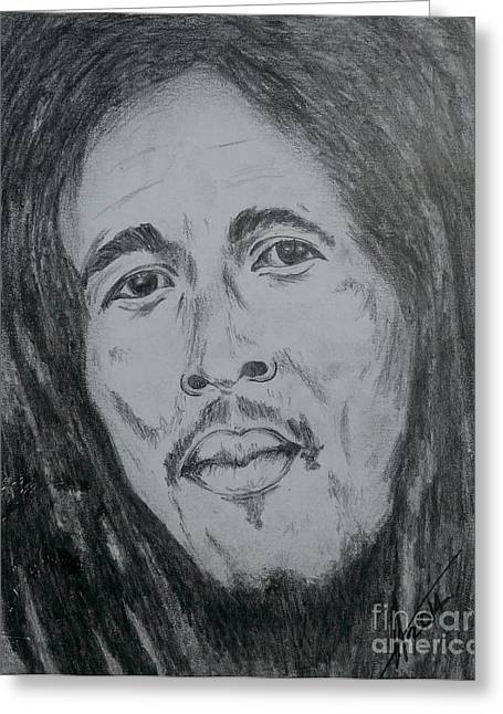 Art Product Drawings Greeting Cards - Bob Marley Greeting Card by Collin A Clarke