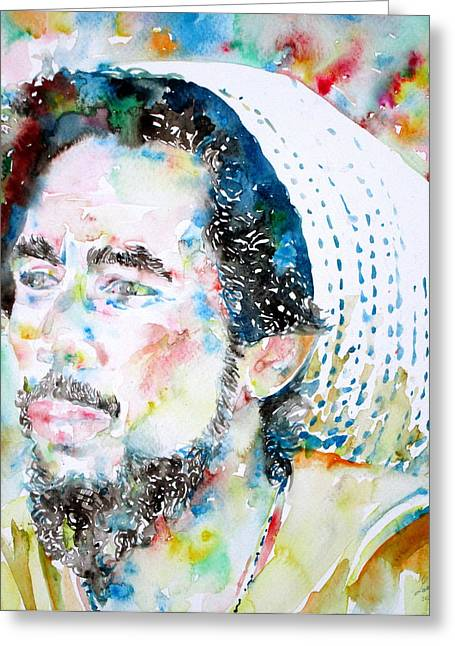 Dread Locks Greeting Cards - BOB MARLEY watercolor portrait.8 Greeting Card by Fabrizio Cassetta