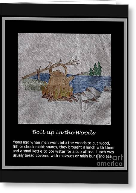 Fire In The Wood Greeting Cards - Boil Up in the Woods Greeting Card by Barbara Griffin