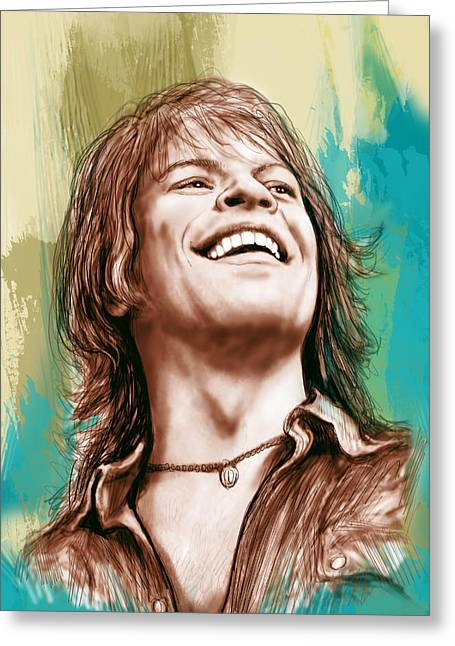 Lead Mixed Media Greeting Cards - Bon Jovi long stylised drawing art poster Greeting Card by Kim Wang