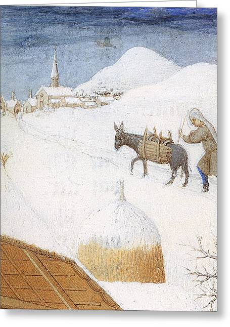 Serf Greeting Cards - Book Of Hours: February Greeting Card by Granger