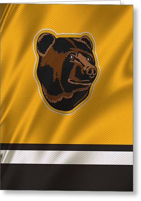 Skates Greeting Cards - Boston Bruins Uniform Greeting Card by Joe Hamilton