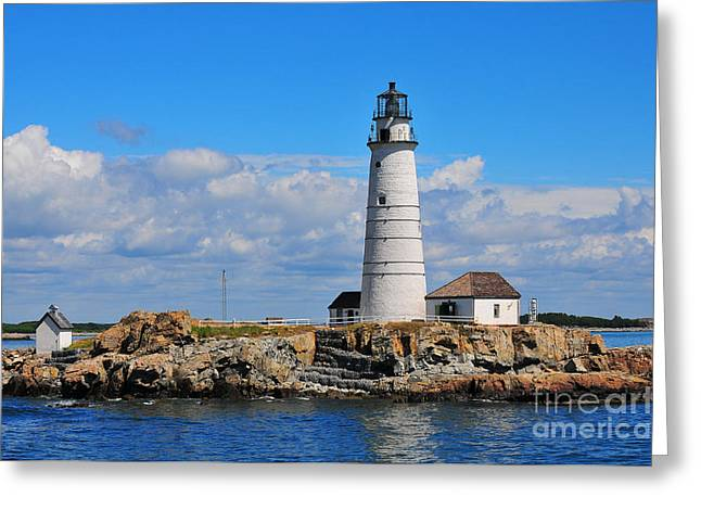 Historical Lighthouse Greeting Cards - Boston Light Greeting Card by Catherine Reusch  Daley