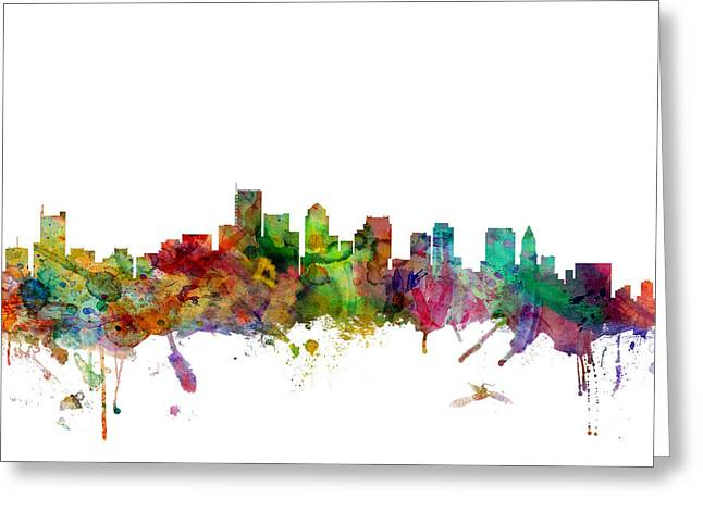 Skyline Greeting Cards - Boston Massachusetts Skyline Greeting Card by Michael Tompsett