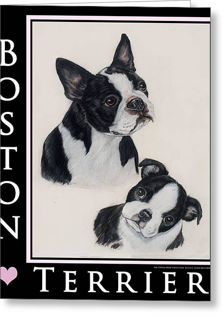 Boston Pastels Greeting Cards - Boston Mom and Pup Greeting Card by Ellen Lyner