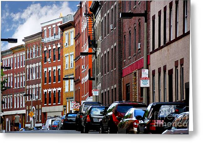Built Greeting Cards - Boston street Greeting Card by Elena Elisseeva