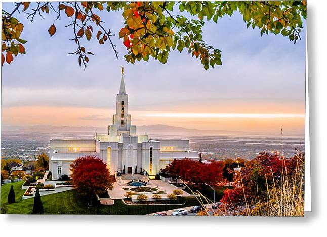 Utah Temples Greeting Cards - Bountiful Temple Leaves Greeting Card by La Rae  Roberts