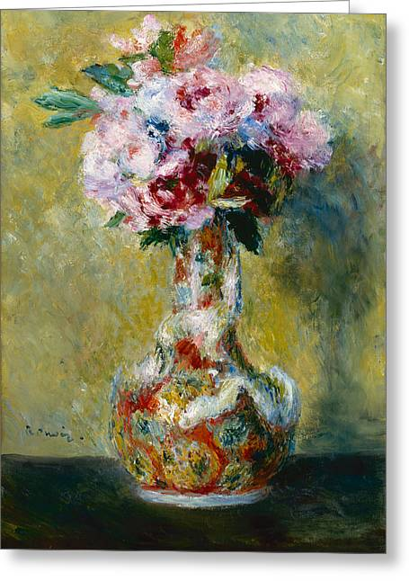 Woman In A Dress Greeting Cards - Bouquet in a Vase Greeting Card by Pierre-Auguste Renoir
