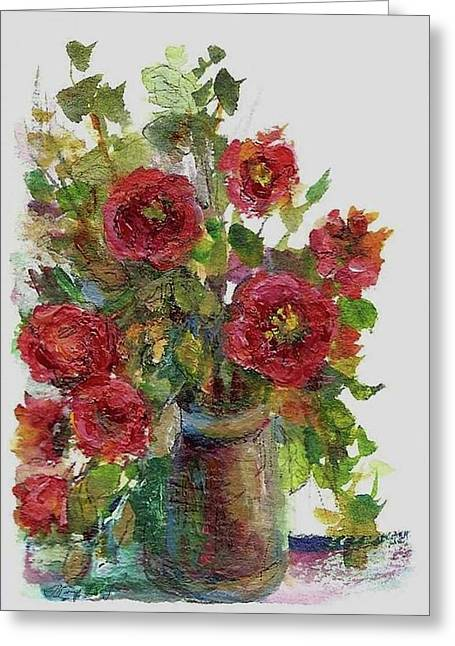 Flower In Pen And Ink Greeting Cards - Bouquet of Poppies Greeting Card by Mary Wolf