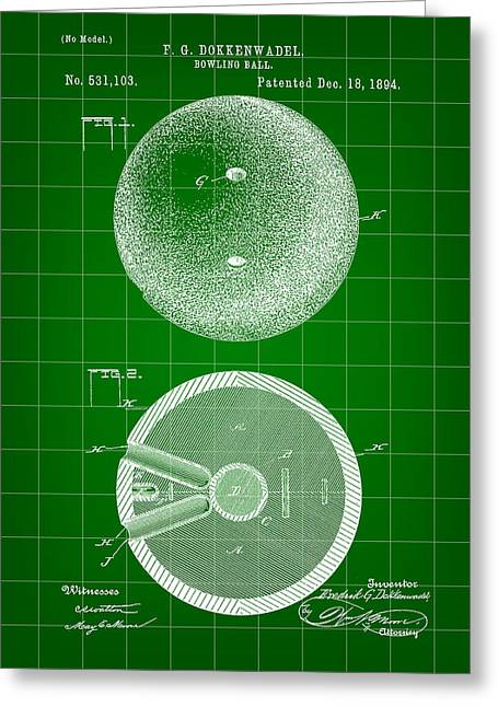 Curve Ball Greeting Cards - Bowling Ball Patent 1894 - Green Greeting Card by Stephen Younts