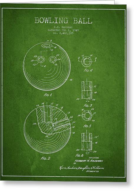 Bowling Greeting Cards - Bowling Ball Patent Drawing from 1949 Greeting Card by Aged Pixel