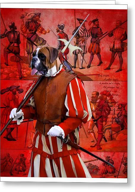 Boxer Dog Art Print Greeting Cards - Boxer Art Canvas Print Greeting Card by Sandra Sij