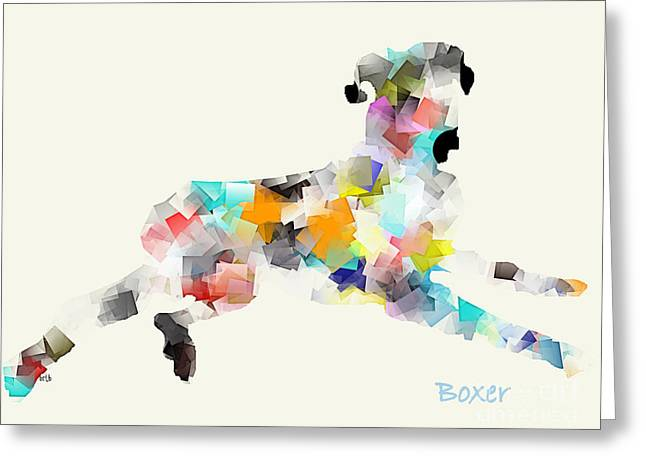 Boxer Abstract Art Greeting Cards - Boxer Greeting Card by Bri Buckley