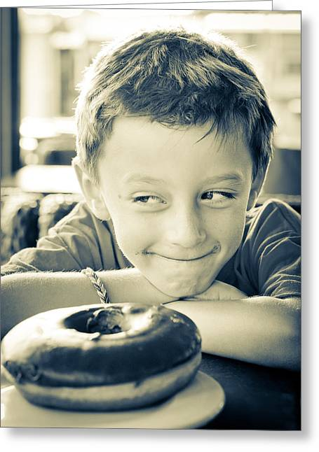 Kid Eating Snack Greeting Cards - Boy with donut Greeting Card by Tom Gowanlock
