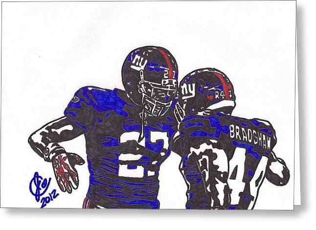 Player Drawings Greeting Cards - Brandon Jacobs and Ahmad Bradshaw Greeting Card by Jeremiah Colley