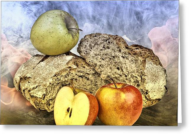 Apple Art Greeting Cards - Bread Greeting Card by Manfred Lutzius