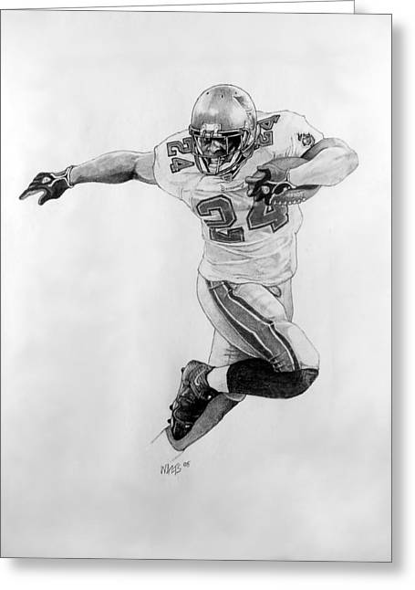 Running Back Drawings Greeting Cards - Breaking Away Greeting Card by William Walts