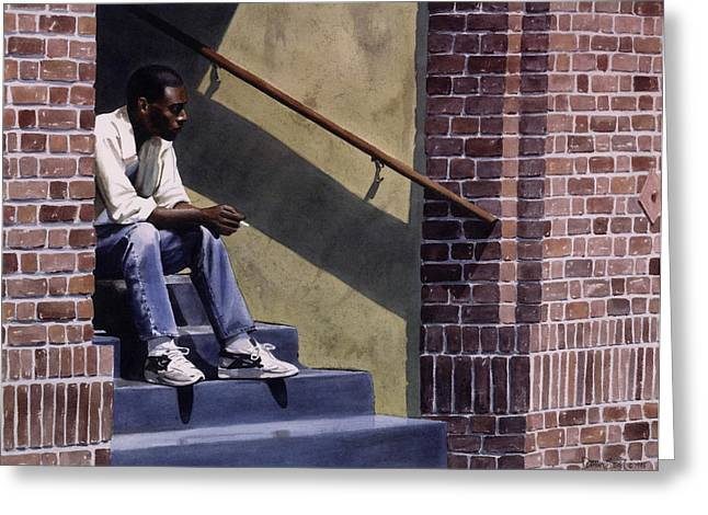 Black Man Paintings Greeting Cards - Breaktime Greeting Card by Denny Bond