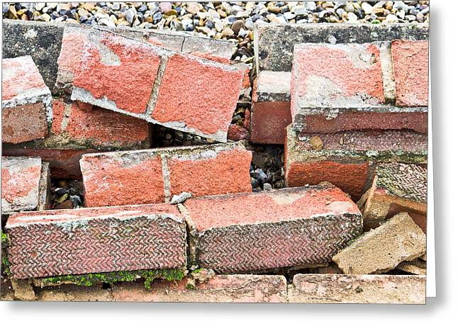 Earthquake Greeting Cards - Bricks Greeting Card by Tom Gowanlock