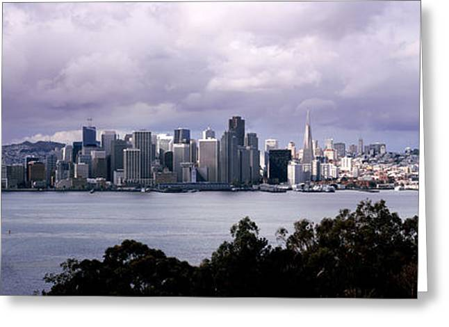 Overcast Day Greeting Cards - Bridge Across A Bay With City Skyline Greeting Card by Panoramic Images