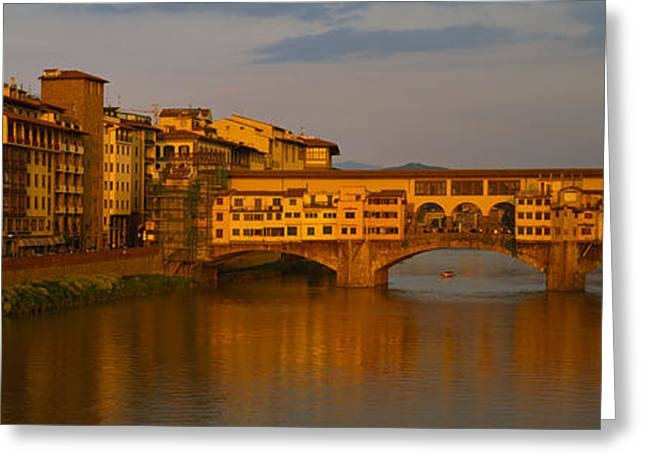 Ponte Vecchio Greeting Cards - Bridge Across A River, Ponte Vecchio Greeting Card by Panoramic Images