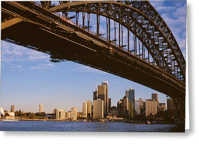 Panoramic Ocean Greeting Cards - Bridge Across The Bay With Skyscrapers Greeting Card by Panoramic Images