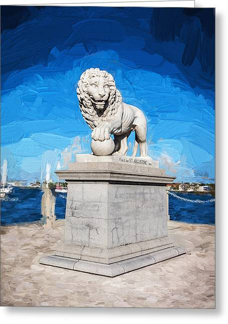 Florida Bridge Greeting Cards - Bridge of Lions St Augustine Florida Painted  Greeting Card by Rich Franco