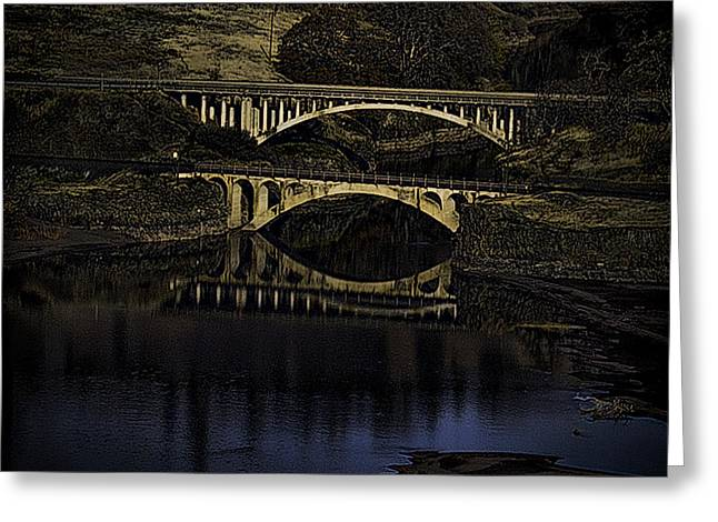 2 Bridges at Dusk Greeting Card by Dale Stillman